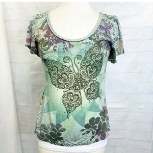 Lucky Brand S Top Green Butterfly Embroidered